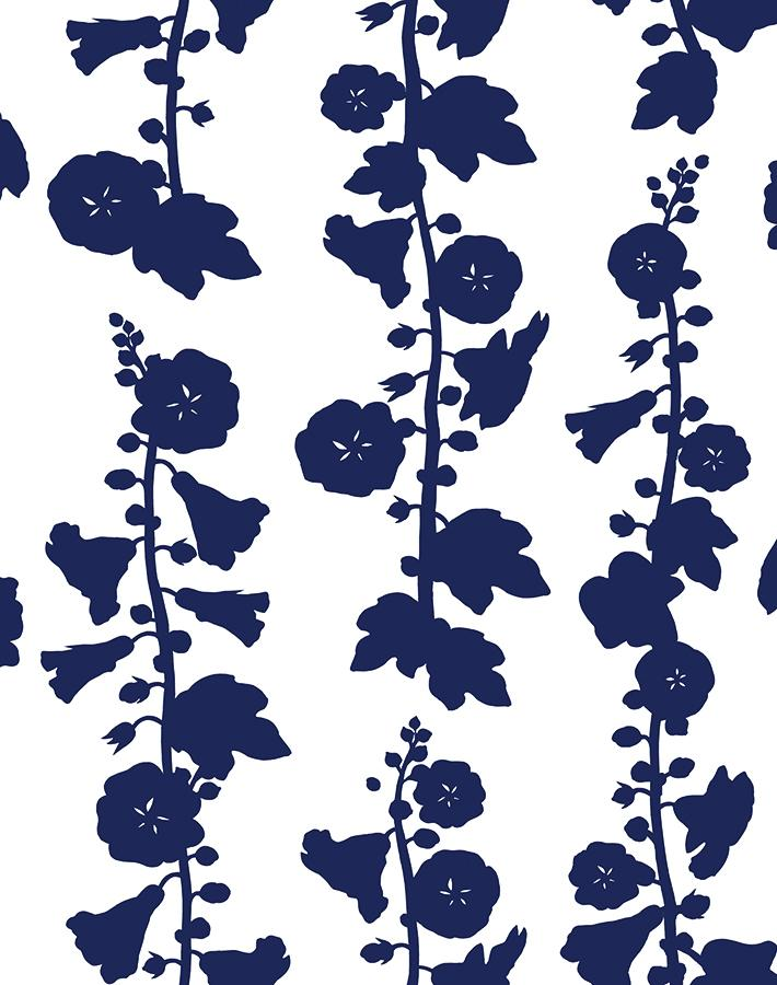 Hollyhock Navy  Wallpaper