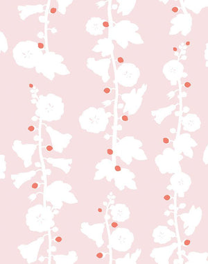 Hollyhock by Clare V. Wallpaper Roll - Pink [SALE]