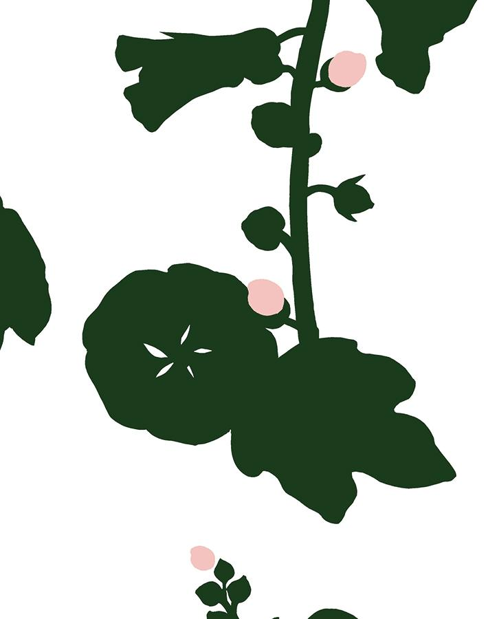 Hollyhock Green Wallpaper
