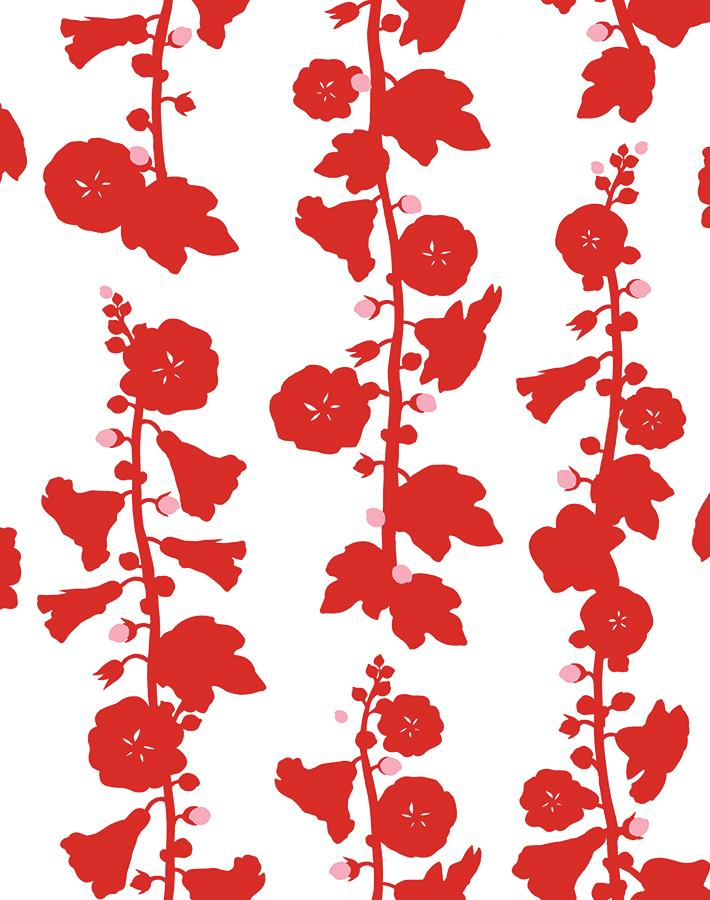 Hollyhock Red  Wallpaper