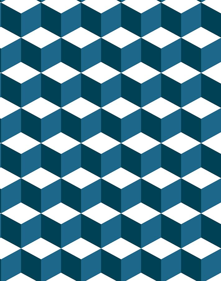 Ice Cubist Indigo  Wallpaper