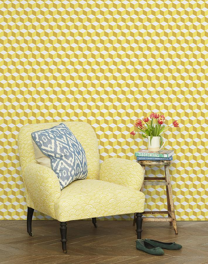 Ice Cubist Yellow  Wallpaper