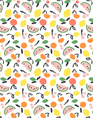 Island Fruits White Wallpaper