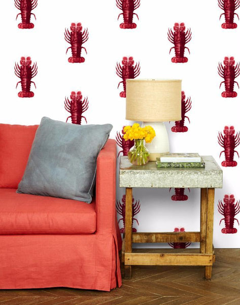 Jack the Crustacean Wallpaper - Red - Wallshoppe