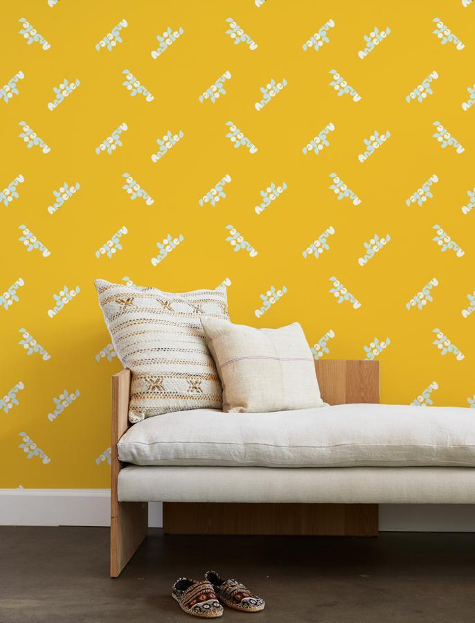los angeles graphic wallpaper marigold on white