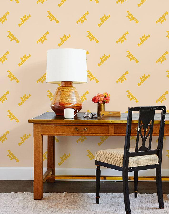 los angeles graphic wallpaper marigold on peach