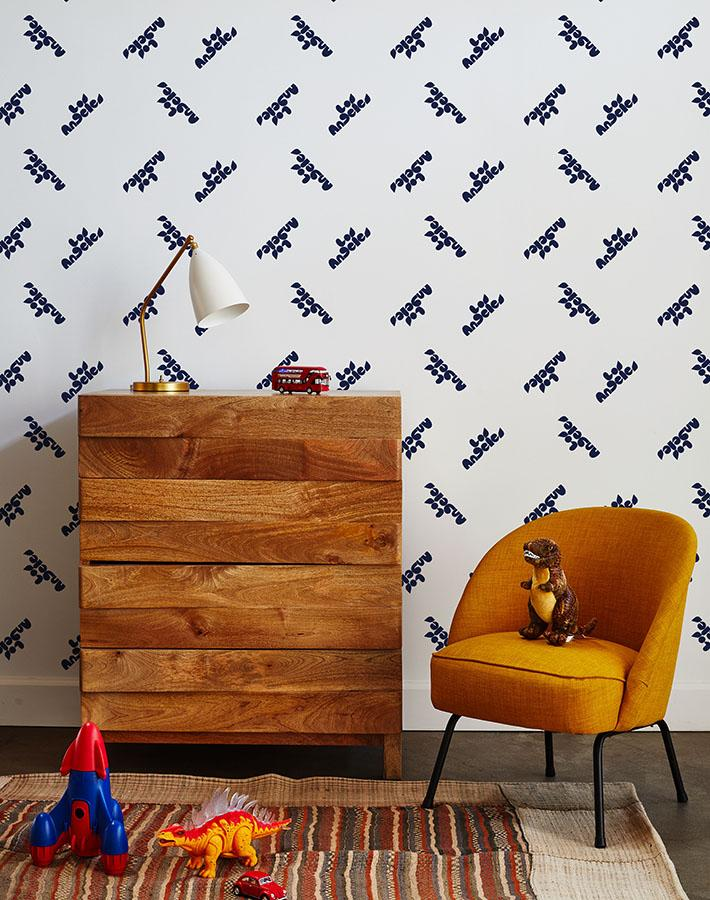 los angeles graphic wallpaper navy on white