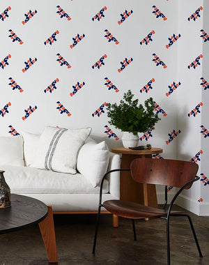 los angeles graphic wallpaper retro red navy on white