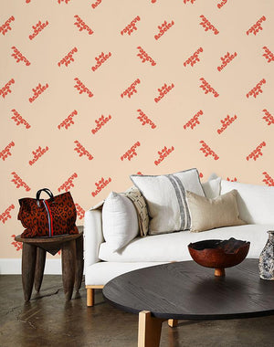 los angeles graphic wallpaper retro red on peach