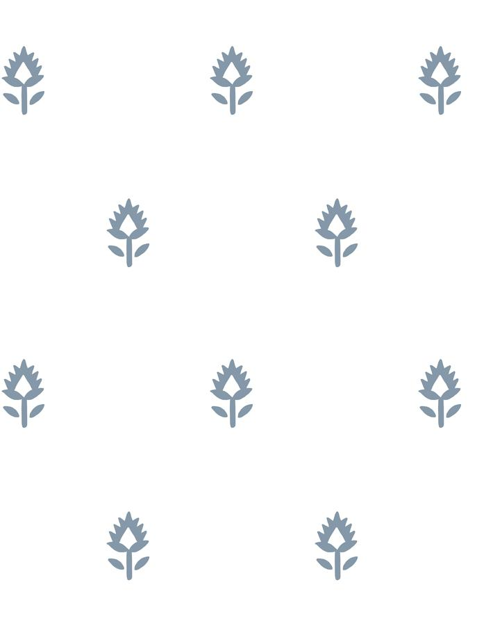Block Print French Blue On White  Wallpaper