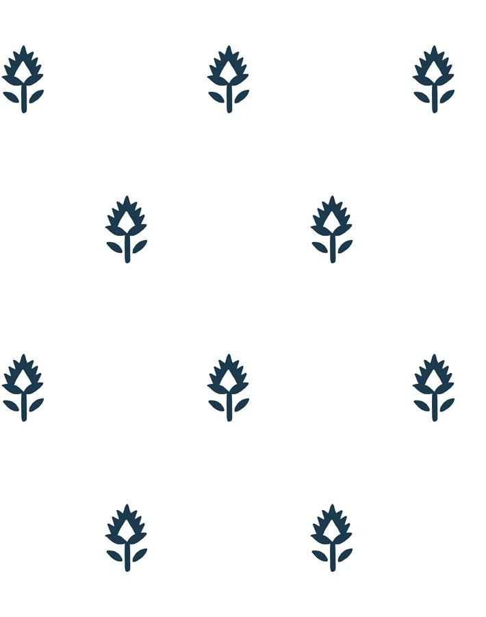 Block Print Navy On White  Wallpaper