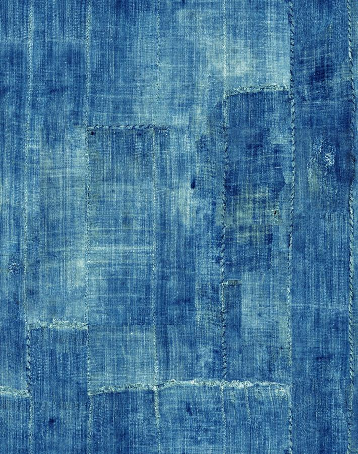 Lafayette Patchwork Blue  Wallpaper