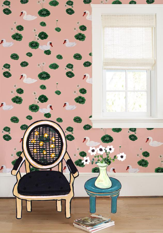 Lily Pad Lake - Pink Wallpaper by Carly Beck - Wallshoppe Removable & Traditional Wallpaper