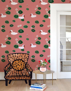 Lily Pad Lake - Rose Wallpaper by Carly Beck - Wallshoppe Removable & Traditional Wallpaper