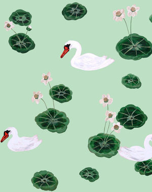 Lily Pad Lake - Aventurine Wallpaper by Carly Beck - Wallshoppe Removable & Traditional Wallpaper