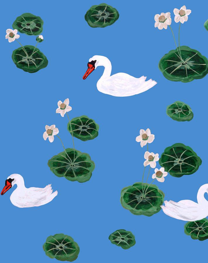 Lily Pad Lake - Cerulean Wallpaper by Carly Beck - Wallshoppe Removable & Traditional Wallpaper