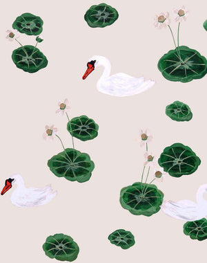 Lily Pad Lake - Oyster Wallpaper by Carly Beck - Wallshoppe Removable & Traditional Wallpaper