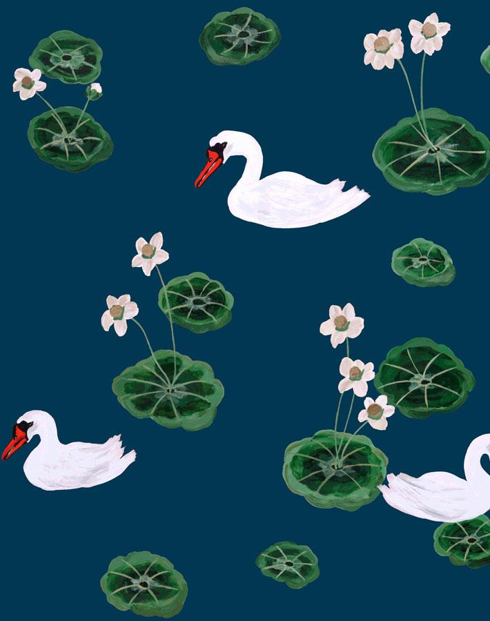 Lily Pad Lake - Peacock Wallpaper by Carly Beck - Wallshoppe Removable & Traditional Wallpaper