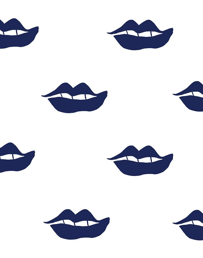 Lips Navy  Wallpaper