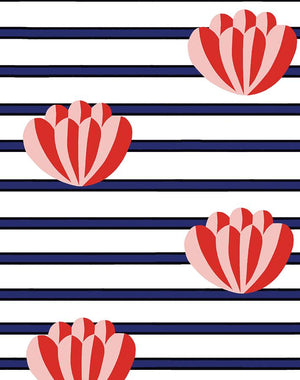 Lotus Stripe Navy  Wallpaper