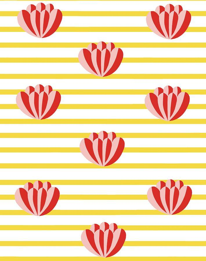 Lotus Stripe Marigold Wallpaper
