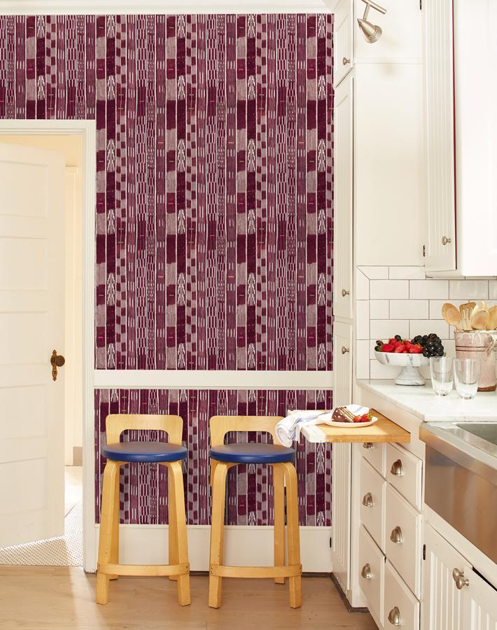 Madison Stripe Small Aubergine  Wallpaper
