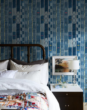 Madison Stripe Indigo  Wallpaper