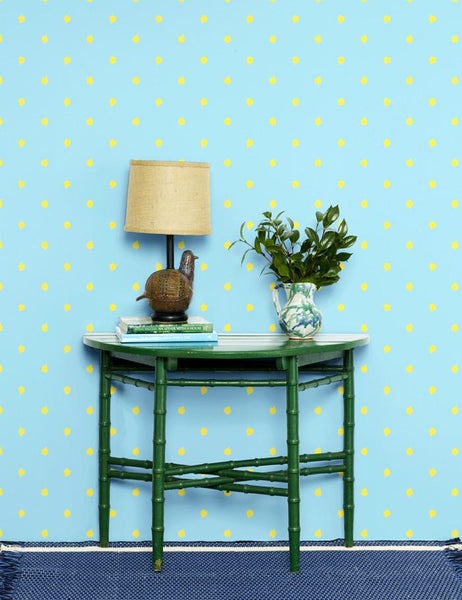 Medina Dot Daffodil Baby Blue Wallpaper
