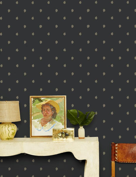 Medina Dot - umber / charcoal wallpaper roll - Wallshoppe