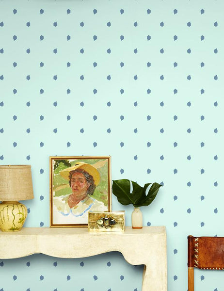 Medina Dot - aloe / whale / aqua wallpaper roll - Wallshoppe