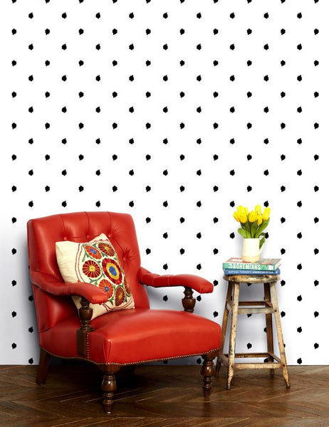 Medina Dot - white / black wallpaper roll - Wallshoppe