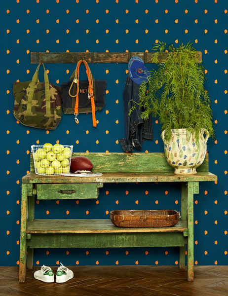 Medina Dot - kumquat / indigo wallpaper roll - Wallshoppe