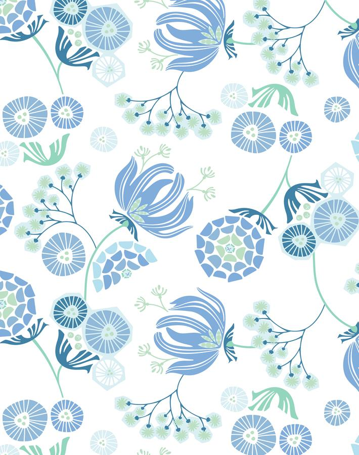 Mediterranean Floral Blue  Wallpaper