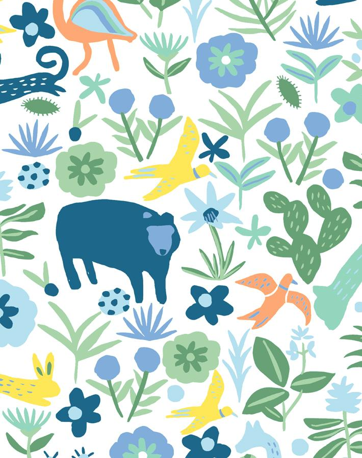 Menagerie Spring Green  Wallpaper