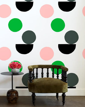 mid century dots wallpaper charcoal pink