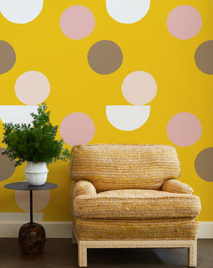 mid century dots wallpaper marigold