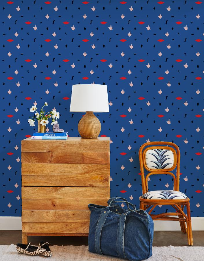 large milagros wallpaper blue