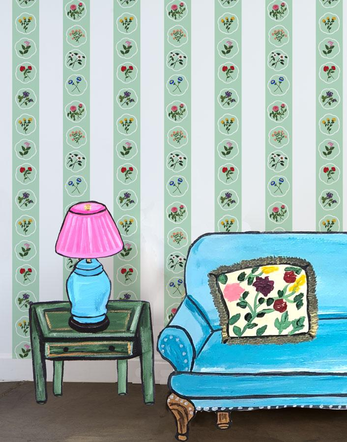 Montaigne Stripe - Aventurine Wallpaper by Carly Beck - Wallshoppe Removable & Traditional Wallpaper