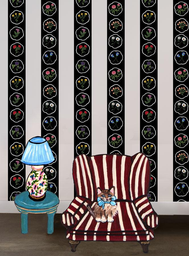 Montaigne Stripe - Black Wallpaper by Carly Beck - Wallshoppe Removable & Traditional Wallpaper