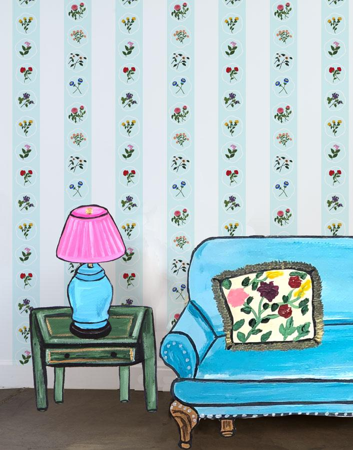 Montaigne Stripe - Blue Tint Wallpaper by Carly Beck - Wallshoppe Removable & Traditional Wallpaper