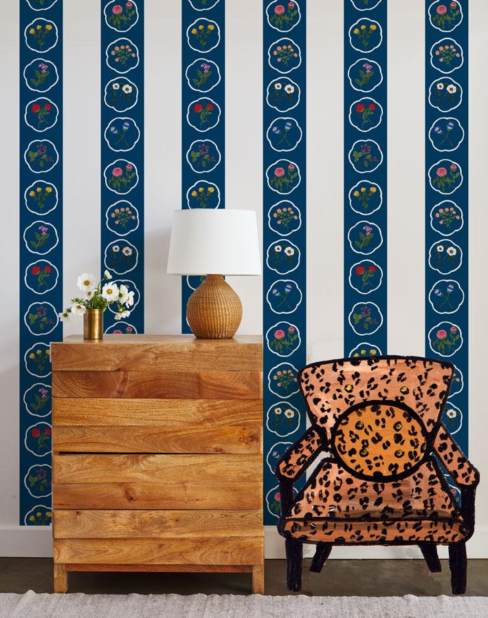 Montaigne Stripe - Deep Navy Wallpaper by Carly Beck - Wallshoppe Removable & Traditional Wallpaper