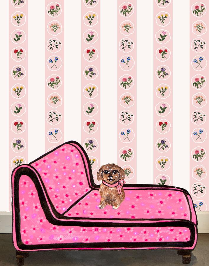 Montaigne Stripe - Pink Wallpaper by Carly Beck - Wallshoppe Removable & Traditional Wallpaper