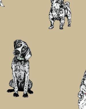 Mutts Burlap  Wallpaper
