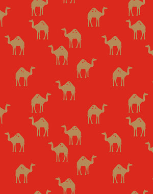 Oasis Camels Red  Wallpaper