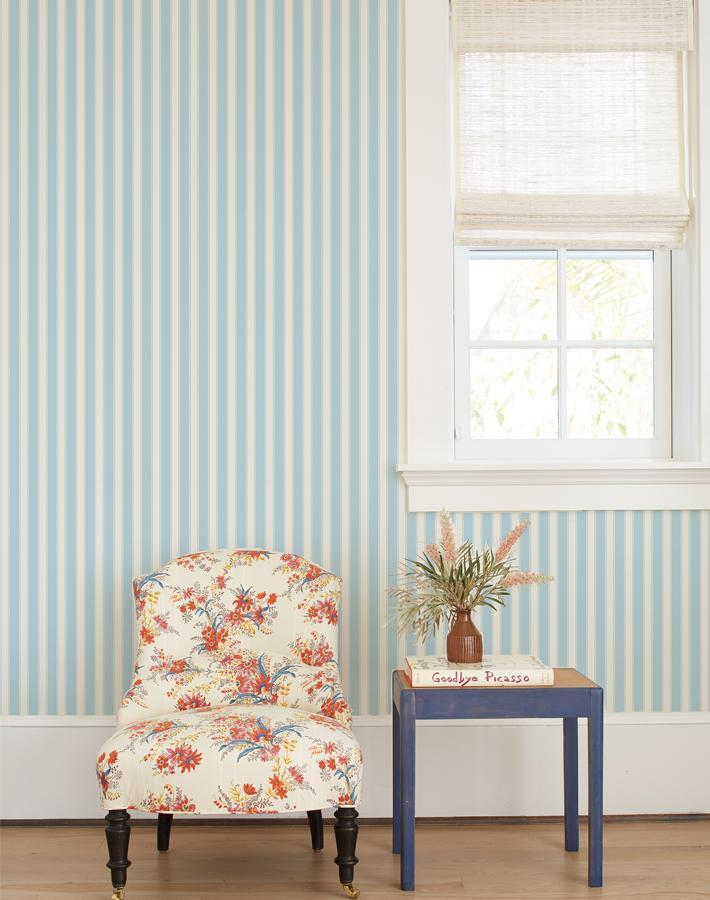 Wallshøppe Ojai Stripe Wallpaper - Baby Blue