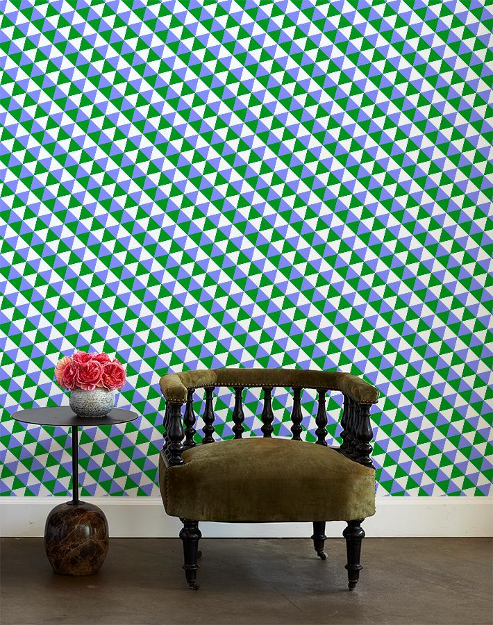 optic triangle wallpaper bluebell olive