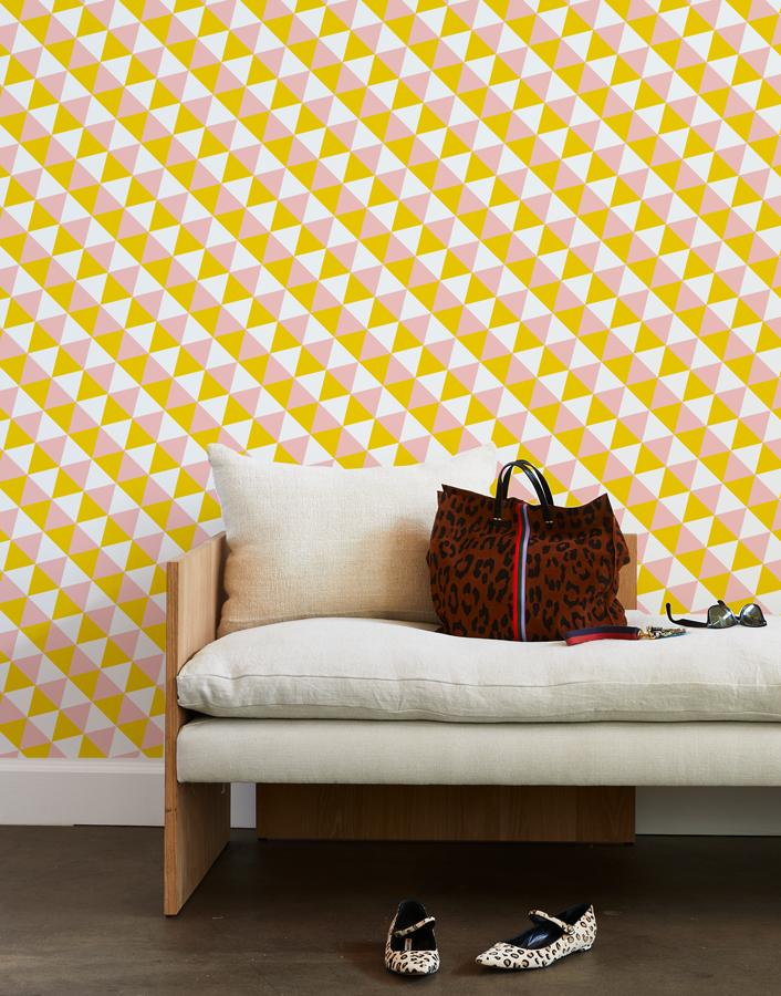 optic triangle wallpaper marigold pink