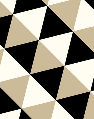 optic triangle wallpaper beige black