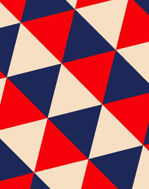 optic triangle wallpaper navy peach