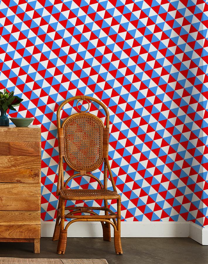 optic triangle wallpaper cyan red